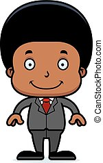 Cartoon Smiling Businessperson Boy