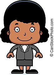 Cartoon Smiling Businessperson Girl