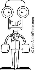 Cartoon Smiling Businessperson Robot