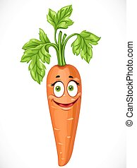 Cartoon smiling carrot isolated on white background