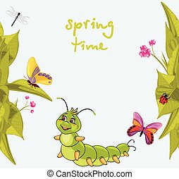 Cartoon smiling caterpillar among butterflies. Vector illustration