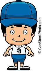 Cartoon Smiling Coach Boy
