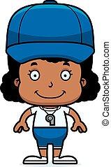 Cartoon Smiling Coach Girl - A cartoon coach girl smiling.