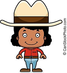 Cartoon Smiling Cowboy Girl