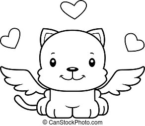 A cartoon cupid kitten smiling.