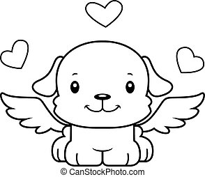 A cartoon cupid puppy smiling.