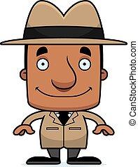 Cartoon Smiling Detective Man