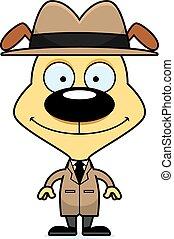 Cartoon Smiling Detective Puppy