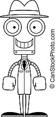 Cartoon Smiling Detective Robot