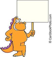 Cartoon smiling dinosaur holding a sign.