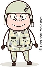 Cartoon Smiling Face of Army Man Vector Illustration