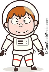Cartoon Smiling Face of Spaceman Character