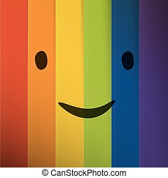Cartoon smiling face on abstract colorful rainbow stripes background.