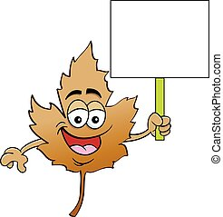 Cartoon smiling Fall leaf holding a sign.