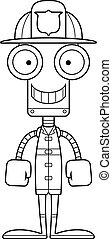 Cartoon Smiling Firefighter Robot