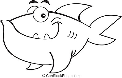 Cartoon Smiling Fish (Black and Whi