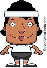 Cartoon Smiling Fitness Woman