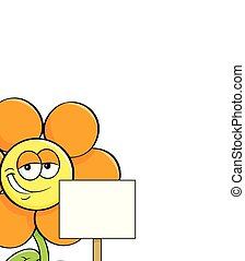 Cartoon smiling flower holding a sign.