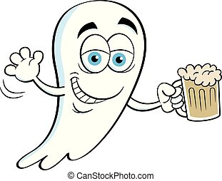 Cartoon smiling ghost holding a beer.