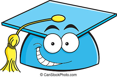 Cartoon smiling graduation cap