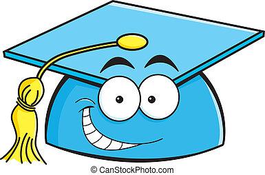 Cartoon smiling graduation cap