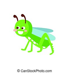Cartoon smiling grasshopper colorful character vector Illustration