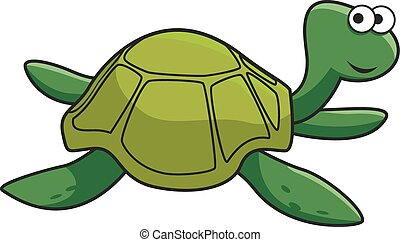 Cartoon smiling green turtle character