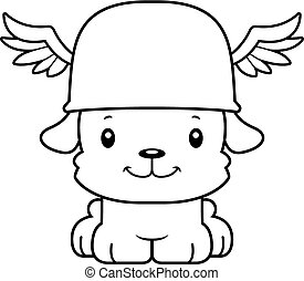 Cartoon Smiling Hermes Puppy - A cartoon Hermes puppy...