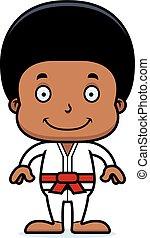 Cartoon Smiling Karate Boy