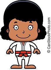 Cartoon Smiling Karate Girl