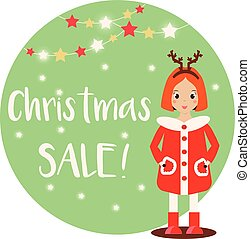 Cartoon smiling kid girl character wearing winter clothes. Christmas Sale banner