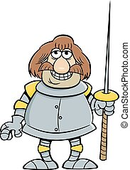 Cartoon smiling knight holding a lance.