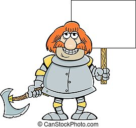 Cartoon smiling knight holding a sign and a battle axe.