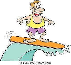 Cartoon smiling man surfing.