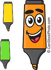 Cartoon smiling marker character - Cartoon yellow, green and...