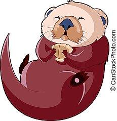 Cartoon smiling Otter