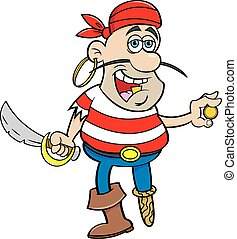 Cartoon smiling pirate holding a cutlass and a gold coin.