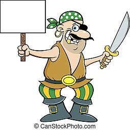 Cartoon smiling pirate holding a cutlass and a sign.