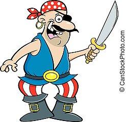Cartoon smiling pirate holding a cutlass.