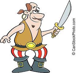 Cartoon smiling pirate holding a cutlass sword.