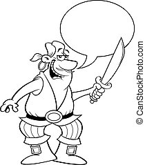 Cartoon smiling pirate holding a cutlass with a caption balloon.