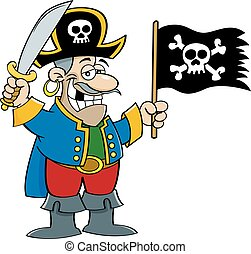 Cartoon smiling pirate holding a sword and a pirate flag.