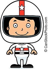 Cartoon Smiling Race Car Driver Boy