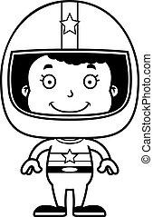 Cartoon Smiling Race Car Driver Girl