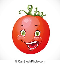 Cartoon smiling red tomato isolated on white background