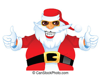 Cartoon Smiling Santa Claus shows thumb up, isolated on...