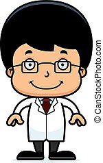 Cartoon Smiling Scientist Boy