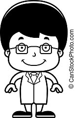 Cartoon Smiling Scientist Boy