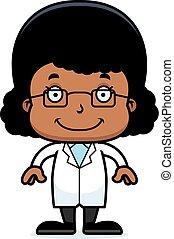 Cartoon Smiling Scientist Girl