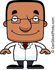 Cartoon Smiling Scientist Man